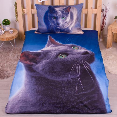Povlečení Kočka tmavá 3D
